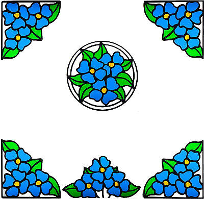 Stain Stained Glass Effect transparent Vinyl Stickers Flower Etch Butterfly