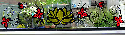 Stain Stained Glass Effect lilly & Butterfly Vinyl Sticker For Window Glass Door