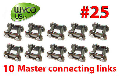 Ten Master Connecting Links #25 For Roller Chain #25, Fast Ship