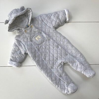 PRAM SUIT 3-6 Months JOHN LEWIS Pramsuit Quilted Cotton Grey
