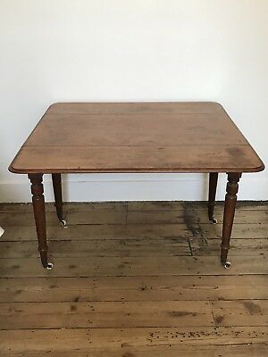 Antique Victorian Mahogany Wooden Small Dining / Side Table Extendable & Wheels