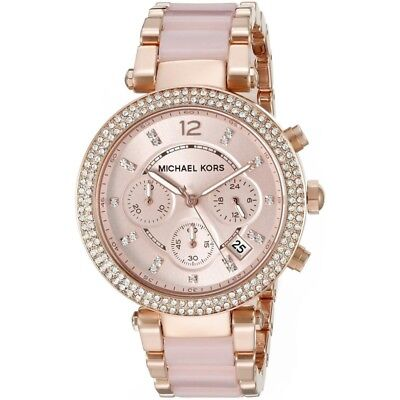 NEW MICHAEL KORS Parker MK5896 Rose Gold-tone Crystal Chronograph Women's Watch