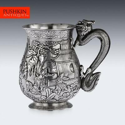 ANTIQUE 19thC RARE CHINESE EXPORT SOLID SILVER BATTLE SCENE MUG c.1870