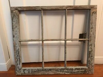 VINTAGE Farmhouse SASH WOOD WINDOW FRAME PINTEREST WEDDING 6 PANE NO GLASS