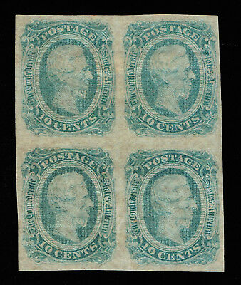 GENUINE CONFEDERATE CSA SCOTT #12c BLOCK OF 4 MINT NG DIE-B GREENISH BLUE ARCHER