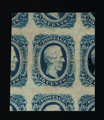 GENUINE CONFEDERATE CSA SCOTT #12d JUMBO BLOCK 4 MINT OG NH DIE-B DARK BLUE A&D