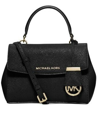 c24b393cdc14 Michael Kors Ava XS Black Leather Top Handle Satchel Crossbody Bag