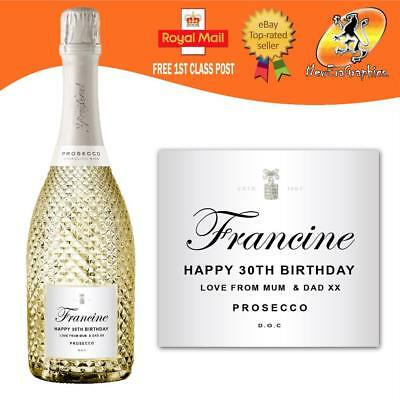 Personalised Prosecco Bottle Label Birthday Any Occasion Gift