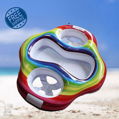 Hot!! High Quality Inflatable Twin Baby Double Swim Float Seat Water Toys