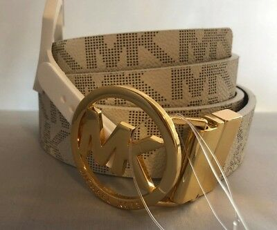 Michael Kors Women's Mk Signature Logo Twist Reversible Belt Vanilla Brown