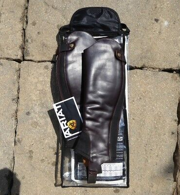 Ariat Leather Close Contour Show Chaps - Waxed Chocolate. Size SS.