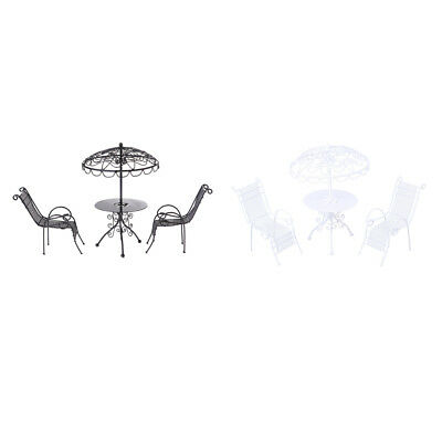 1/12 Doll House Miniature Garden Yard Furniture Metal Table Chairs 2 Sets