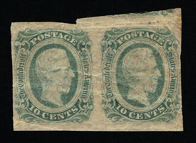 GENUINE CONFEDERATE CSA SCOTT #12e PAIR GREEN MINT OG DIE-B ARCHER DALY PRINTING