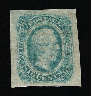 GENUINE CONFEDERATE CSA SCOTT #12e GREEN MINT NG DIE-B ARCHER & DALY PRINTING