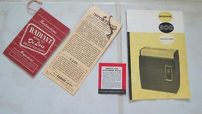 Collection 1950's Projector & Screen Product Information Booklets Kodak Radiant