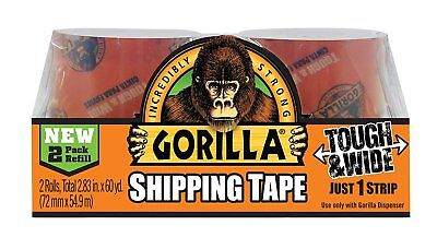 "Gorilla Glue 6030402 Packing Tape Tough & Wide Refill, 2.83"" x 30 yd, 2 Rolls"