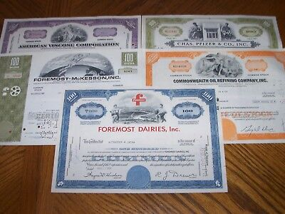 Lot of 5 Different Stock Certificates.L17