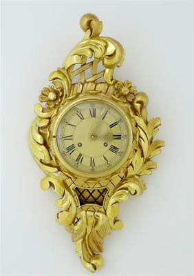 20Th Century Swedish Gilt Carved Wood Wall Clock Fhs Movement