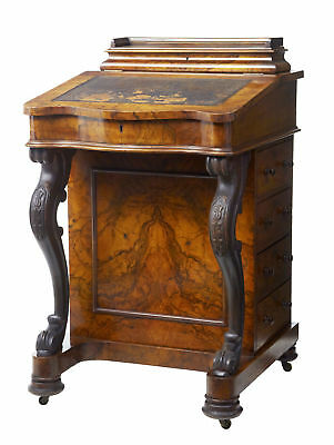 19Th Century Victorian Carved Walnut Davenport Writing Desk