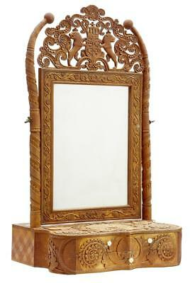 Rare 19Th Century Swedish Carved Birch Table Mirror With Indian Influence