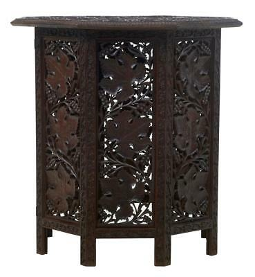 19Th Century Eastern Hardwood Carved Octagonal Side Table