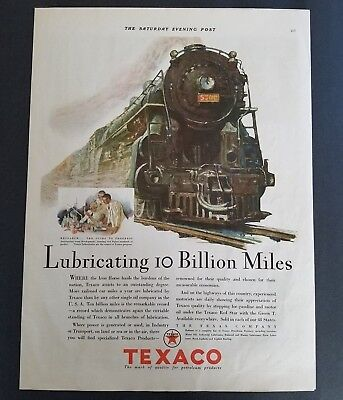 1929 - Texaco - Lubricating 10 Billion Miles - Vintage Print Ad