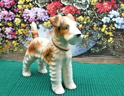 Vtg Wired Haired FOX TERRIER Puppy Dog Ceramic Porcelain Figurine OCCUPIED JAPAN
