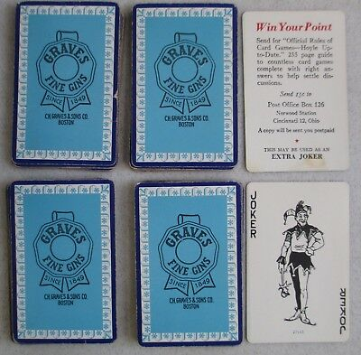 Vintage Graves Fine Gins Playing Cards C.h. Graves & Sons Co. Boston Mass