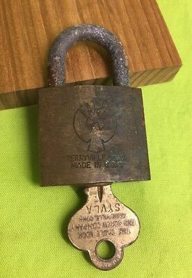 """Vintage EAGLE LOCK Co Padlock Brass with  Key Terryville CT . 2-3/8""""x1-7/16"""""""