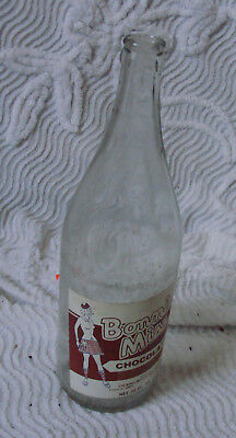 Rare 1980s BONNIE MISS Cicero Bottling Works Quart Soda Bottle CHOCOLATE