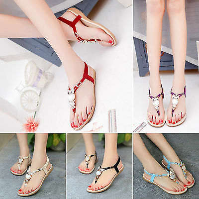 9c1c367732c28 Trendy Women Bohemia Buckle Flat Shoes Sandals Owl Thong Slippers Flip Flops