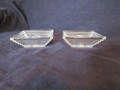 Depression Glass Anchor Hocking Manhattan Square Candle Holders