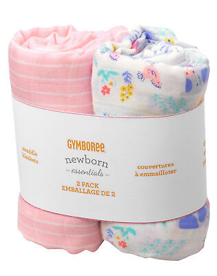 NWT Gymboree Farm Print Muslin Cotton Swaddle Blankets 2 Pack Baby Girl