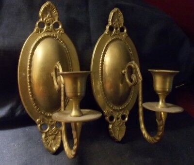 Nice Pair Of Vintage Solid Brass Wall Sconces/taper Candle Holders! Handmade!