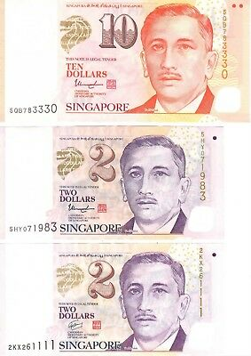 SINGAPORE $14 SGD Bank Notes Currency 3 PCS 10 2 2 SGD Dollars Real Money!