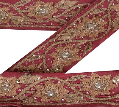 Vintage Sari Border Antique Hand Beaded 1 YD Indian Trim Sewing Pink Lace