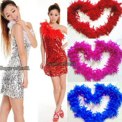 2M 79Inch Long Fluffy Feather Boa for Party Wedding Dress up Costume Decor Hot