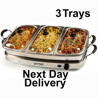 Sensiohome Gourmet 6.4L Buffet Server Hot Tray Food Warmer 3 Tray Section