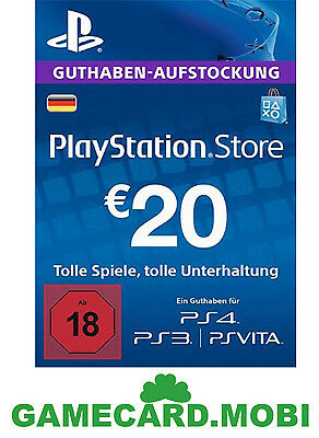 20 Euro PlayStation Store Card / 20€ EUR PSN Network Key PS3 PS4 PS Vita - DE