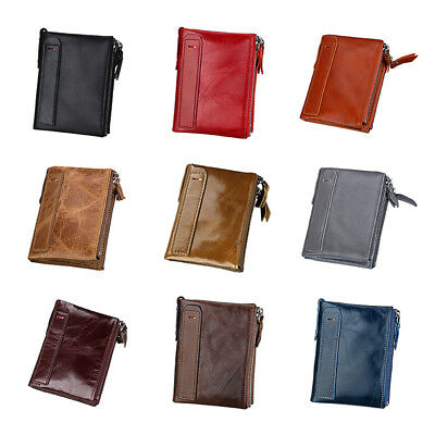 Mens Wallet RFID Blocking Genuine Leather Credit Card Holder Zip Coin Purse CY