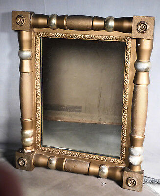 Antique Period Gilt Lemon Gold Empire Mirror Picture Frame Half Columns Rosette