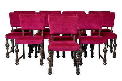 SET OF 12 1920's OAK UPHOLSTERED DINING CHAIRS