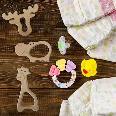 Natural Wood Teething Ring Baby Nursiing Chewable Teether Baby Wooden Chew Toys