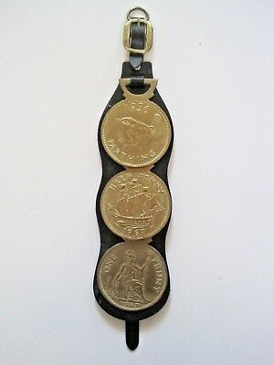 Vtg 3 Horse Brass Farthing Penny Coins Medallions Medals Leather Tack Strap DB
