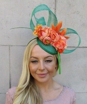Emerald Green Orange Rose Flower Feather Hat Fascinator Races Wedding Hair 5923