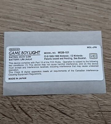 Nintendo Game Boy Light Pocket GBL Model Info MGB-101 Sticker For Gameboy Light