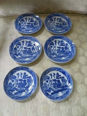 Vintage Antique lot of 6 Japanese Blue & White House of Blue Willow Plates JAPAN