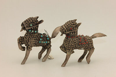 Antique Original Silver Asian Amazing Double Animal  Donkey Trinkets