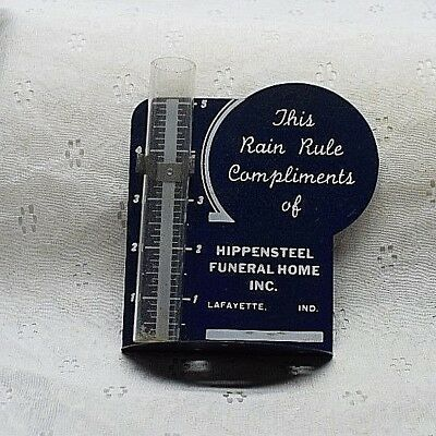 Vintage RAIN GAUGE advertising HIPPENSTEEL FUNERAL HOME LAFAYETTE IND rain rule