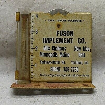 Vintage RAIN GAUGE advertising FUSON IMPLEMENT YORKTOWN INDIANA ALLIS MOLINE